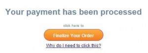 "After making your payment, make sure you click the ""finalize your order"" button to be brought back to the website."